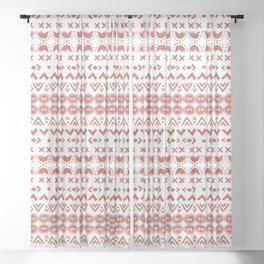 Scandi Hygge Red Sheer Curtain