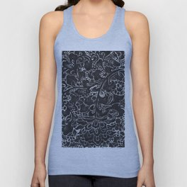 Watercolor Chinoiserie Block Floral Print in Black Ink Porcelain Tiles Unisex Tank Top