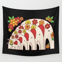 large Wall Tapestries featuring Matrioshka Elephants (large) by Elephant Love