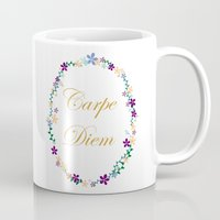 carpe diem Mugs featuring Carpe Diem by Pendientera