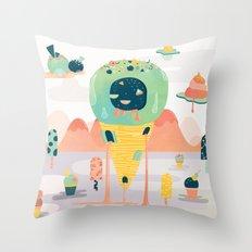 Melting Ice Cream Desert Throw Pillow