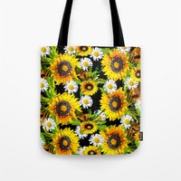 sunflowers Tote Bags featuring Sunflowers by Saundra Myles