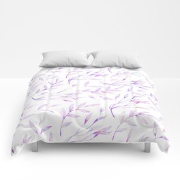 Botanical colorful pink lilac watercolor floral pattern Comforters