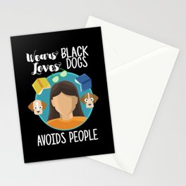 Introverts - Wears Black Loves Dogs Avoids People Stationery Cards