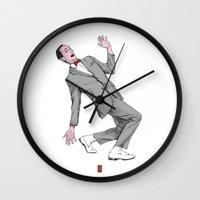 pee wee Wall Clocks featuring Pee Wee Herman #2 by Christian G. Marra