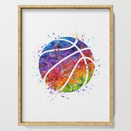 Basketball Ball Colorful Watercolor Sports Art Serving Tray