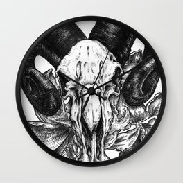 Pen and Ink Illustration - Ram Skull with Hibiscus Wall Clock