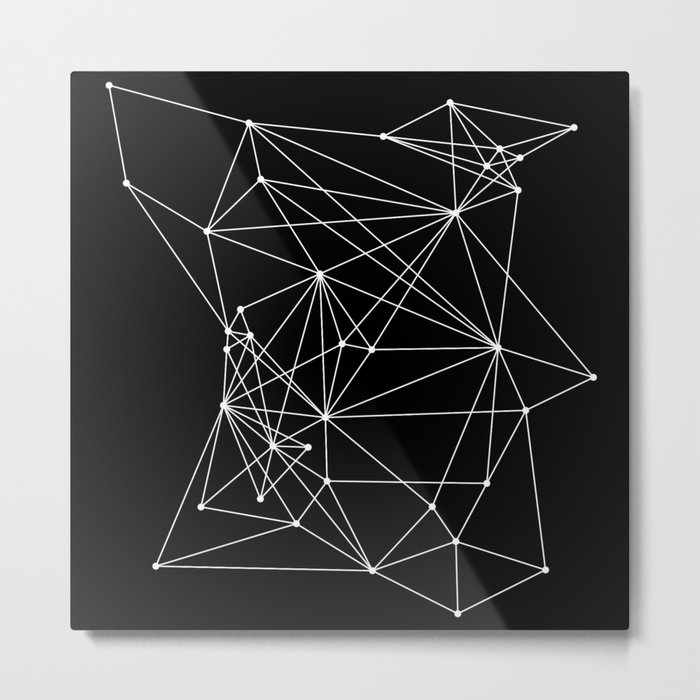 Black Geometric Dots and Lines Metal Print