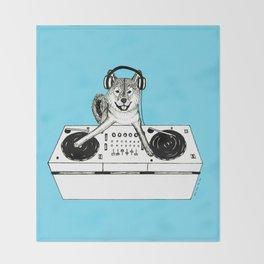 Shiba Inu Dog DJ-ing Throw Blanket