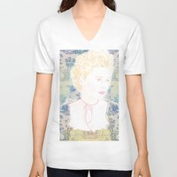 marie antoinette V-neck T-shirts featuring MARIE ANTOINETTE by Itxaso Beistegui Illustrations