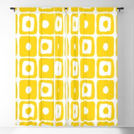 Mid Century Square Dot Pattern yellow Blackout Curtain