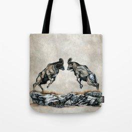 Fighting Bighorn Sheep Rams Tote Bag