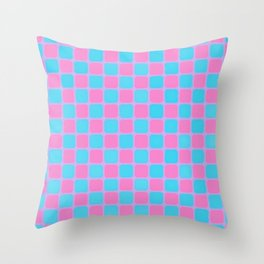Checker Game:  Pink and Blue Throw Pillow