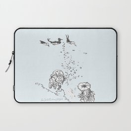 Two Tailed Duck and Jellyfish Pale Blue Laptop Sleeve