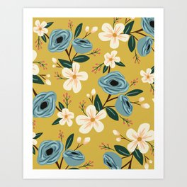 Mustard and Blue Floral Art Print