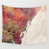 barcelona Wall Tapestries featuring Barcelona by MapMapMaps.Watercolors