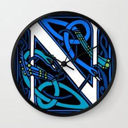Celtic Peacocks Letter N Wall Clock