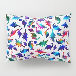 Rainbow Galaxy Watercolor Dinosaurs In Space Pillow Sham