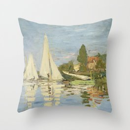 Regattas at Argenteuil by Claude Monet Throw Pillow