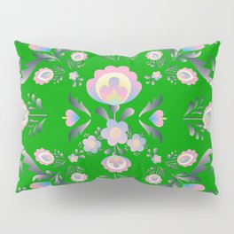 Folk Flowers in Green and Pink Pillow Sham