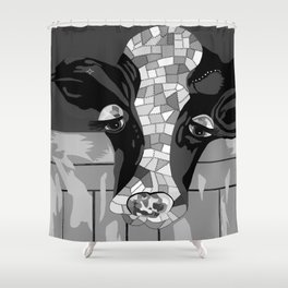 Gray Patchwork Cow Shower Curtain