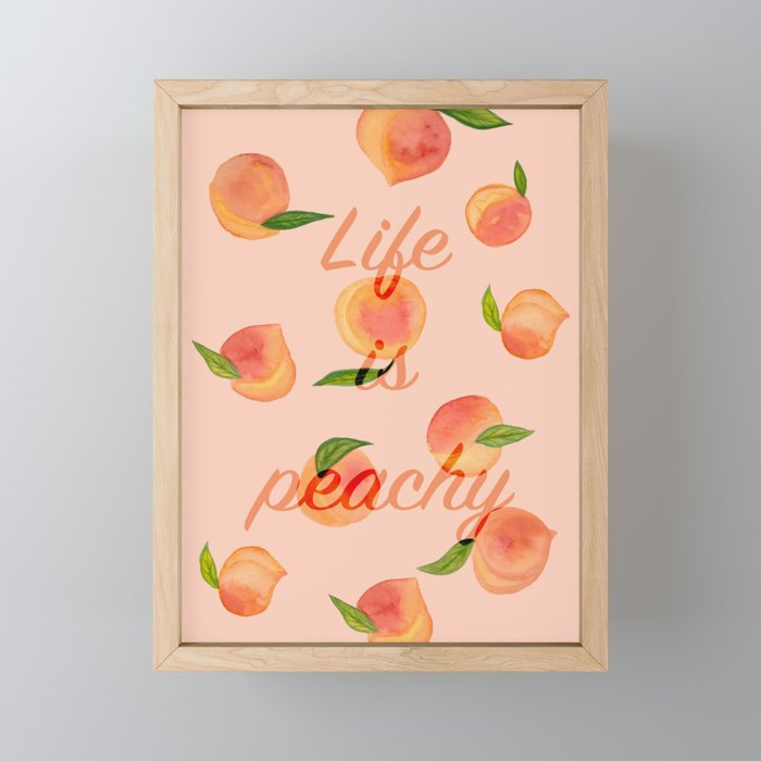 Life is peachy print Framed Mini Art Print
