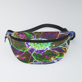 Abstract Garden Peony in Black and Blue Fanny Pack