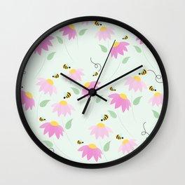 Pretty Flowers & Buzzing Bees Wall Clock