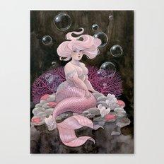 Pink and pearls mermaid Canvas Print