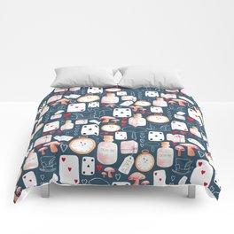 Alice in Wonderland - pattern on blue Comforters