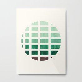 Watercolor Deep Green Minimalist Mid Century Modern Square Matrix Geometric Pattern Round Circle Metal Print