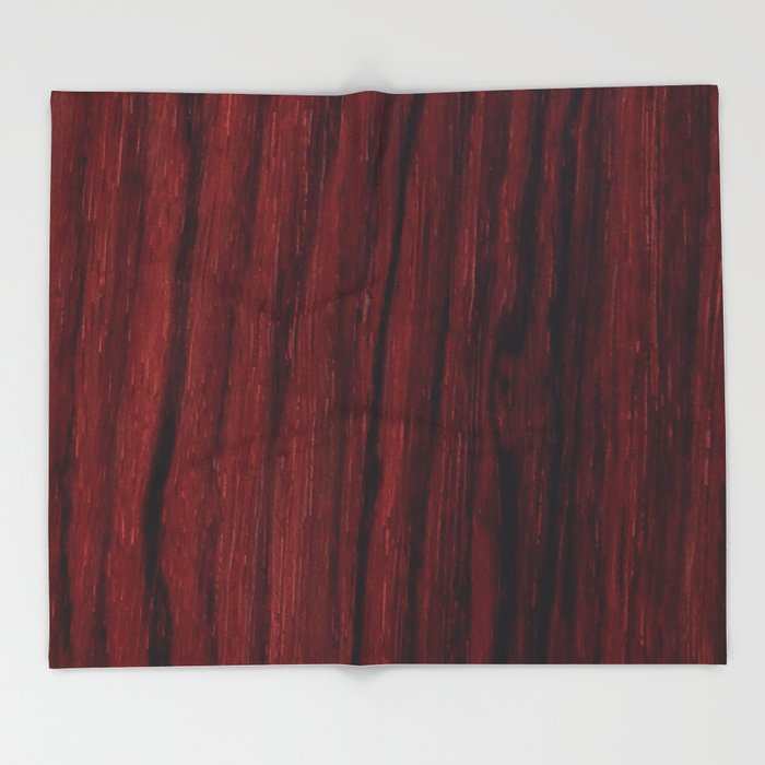 Deep Red Wood Veneer Design Throw Blanket