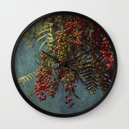 Grunge garden berries Wall Clock