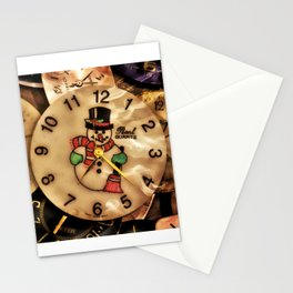 Vintage TimePieces Displaying a SnowMan Face Stationery Cards