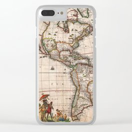 1658 Visscher Map of North & South America with enhancements Clear iPhone Case