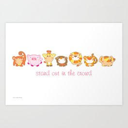 Silly Safari - Stand Out In The Crowd Art Print