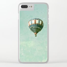 Vintage Red, White, and Blue Hot Air Balloon on Robin's Egg Blue Clear iPhone Case