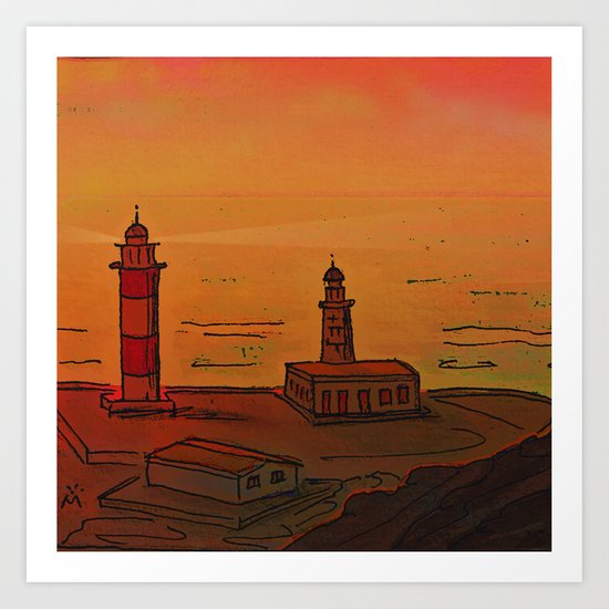 Good Morning / New and Old Lighthouse Fuencaliente La Palma Art Print
