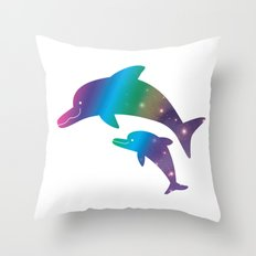 Universe  in Parent-child of dolphin_02 Throw Pillow