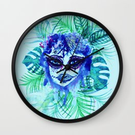 Woman with Tropic leaves Wall Clock