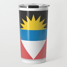 Flag of Antigua and Barbuda.  The slit in the paper with shadows. Travel Mug