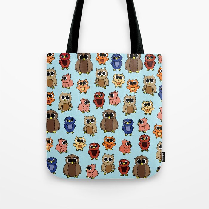 Illustrated Owl Pattern Tote Bag