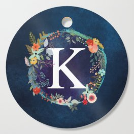 Personalized Monogram Initial Letter K Floral Wreath Artwork Cutting Board