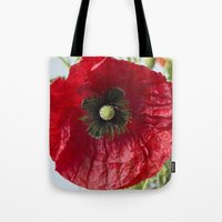 poppy Tote Bags featuring Poppy by Maria Heyens
