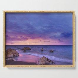 Ocean Beach Dusk Sunset Photography Serving Tray