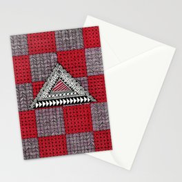 Geometric Patten black, white, pink and red Stationery Cards