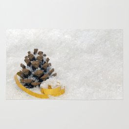 Fir Cones in Snow With Gold Ribbon Rug