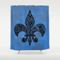 fleur de lis Shower Curtains featuring Blue Fleur de Lis by Riaora Creations