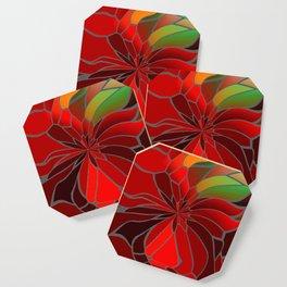 Abstract Poinsettia Coaster