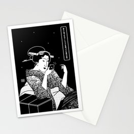 Young Woman with a new smartphone Stationery Cards